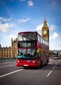 Autobus di londra e il big ben — Foto Stock