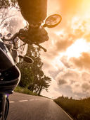 Motorcycle rider view — Foto Stock