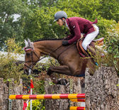 Horse jumping competition — Stock Photo