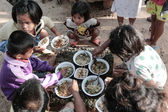 Donation of food to children — Stock Photo