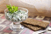 Cheese and parsley — Stock Photo