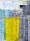 Teal, gris et jaune peinture d'art abstrait — Photo