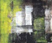 Zwarte en gele abstracte kunst schilderij — Stockfoto