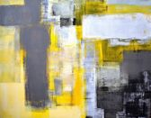Grey and Yellow Abstract Art Painting — Zdjęcie stockowe