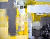 Grå och gul abstrakt konst måleri — Stockfoto