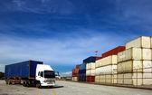 Cranage and Containers and Truck at transportation Logistics har — Stock Photo