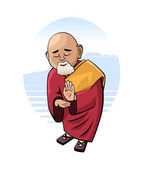 Buddhist monk in mental concentration — Stock Vector