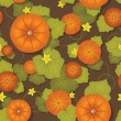 Seamless pattern. Pumpkins with leaves — Stock Vector