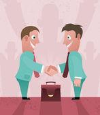 Two cartoon businessman handshaking. Two cartoon businessman handshaking. — Stock Vector