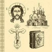 Orthodox symbols hand drawn — Stock Vector