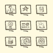 Hand drawn business icon set — Stock Vector