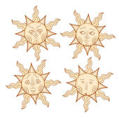 Vintage sun color drawing set — Stock Vector