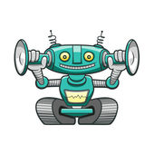 Robot verde gracioso divertido robot verde — Vector de stock