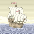 Vintage caravel - Stockvectorbeeld