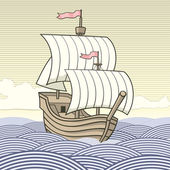 Vintage caravel — Stock Vector