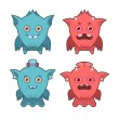 Cute monster emotions — Stock Vector