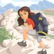 Hiking girl — Stock Vector