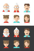 Avatars of different people ages — Stock Vector