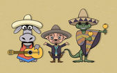 Mexican cartoon characters — Stock Vector