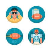 Conjunto de iconos del fútbol americano. parte 1 — Vector de stock