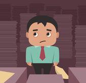 Businessman overhelmed by paperwork — Stock Vector