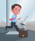 Businessman running on a treadmill — Stock Vector
