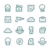 Science fiction icons set — Stock Vector