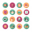 Stock Vector: Flat icons of life after retirement