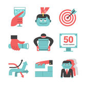 Content management flat icons set. Part 1 — Stock Vector