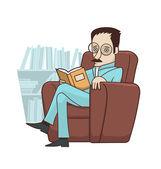 Reading book in armchair — Stock Vector