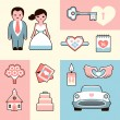 Stock Vector: Wedding flat illustrations set