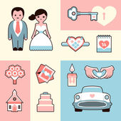 Wedding flat illustrations set — Stock Vector