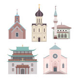 Church flat illustration collection — Stock Vector
