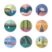 Landscapes icons collection — Stock Vector