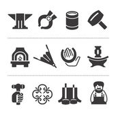 Set of blacksmithing icons — Stock Vector