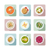 Vegetarian cuisine. Flat icons in color — Stock Vector