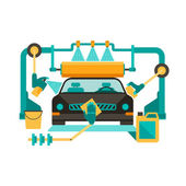 Automatic car wash — Stock Vector