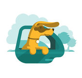 Dog is looking out of car window — Stock Vector