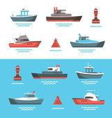 Vector illustration of boats — Stock Vector