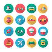Vector transport icons in flat style with long shadow effect — Stock Vector