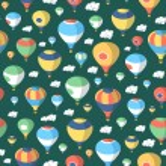 Hot Air Balloons - Seamless Pattern — Stock Vector