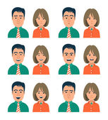 Facial Expressions of Woman and Man — Stock Vector