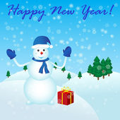 Happy New Year with snowman and gift — Stock Vector