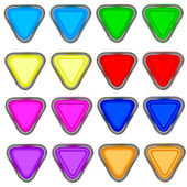 Four color triangular button in the white background — Stock Photo