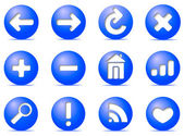 Communication icons on buttons, — Stock Vector