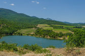 Vineyards in the mountains near the lake — 图库照片