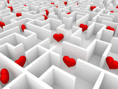 Hearts in the maze — Stock Photo