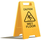 Wet floor caution sign — Stock Vector