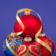 Christmas decorations on a blue background. — Stock Photo