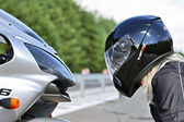 Motorbike & Woman in Helmet - Beauty & Beast — Stock Photo